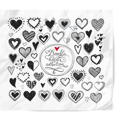 doodle hearts on realistic white paper background vector image