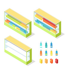 drinks in groceries showcase isometric vector image