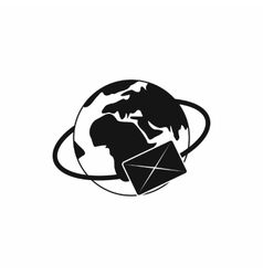 Earth with envelope icon simple style vector image