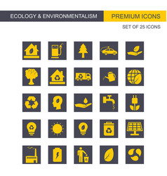 Ecology and enviromentalism icons set yellow and vector