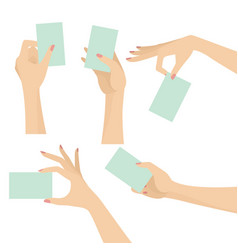 elegant woman hands holding blank card set vector image