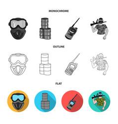 Equipment mask barrel barricade paintball set vector