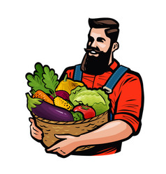 Farmer holding a basket full of vegetables vector