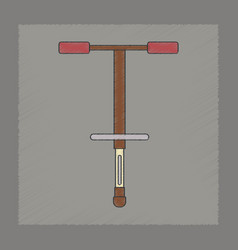 Flat shading style icon kids pogo stick vector