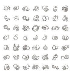 fruits exotic vegetarian - flat icon set vector image