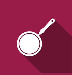 frying pan icon isolated with long shadow vector image