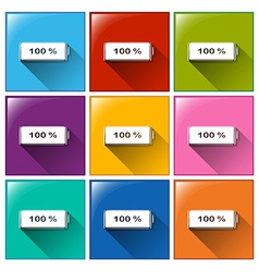 Fully charged battery buttons vector