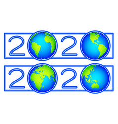 Globes 2020 new year vector