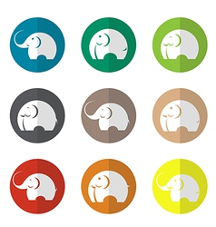 group of elephant in the circle vector image