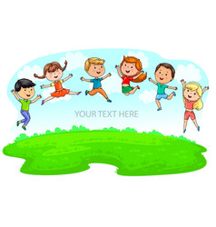 Happy cute kids jumping on green meadow and blue vector