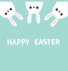Happy easter three white bunny rabbit hanging vector