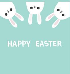 happy easter three white bunny rabbit hanging vector image