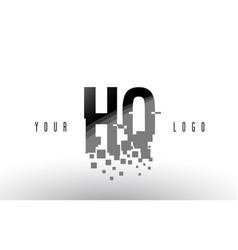 hq h q pixel letter logo with digital shattered vector image