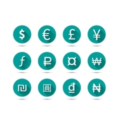Isolated set of main currency signs flat icons vector image