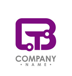 letter b and t icon technology smart logo vector image