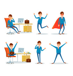 Man hero with cloak and businessman working office vector