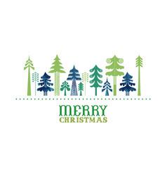 merry christmas retro folk pine tree card vector image