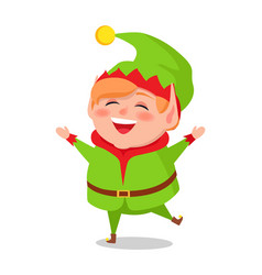 merry elf in green suit stands on one leg and sing vector image