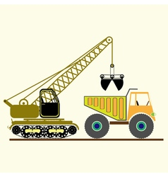 Monochrome icon with construction equipment vector