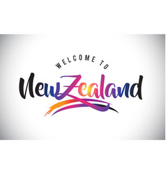Newzealand welcome to message in purple vibrant vector