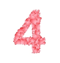number four from hearts vector image