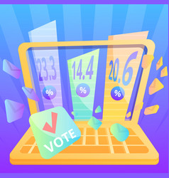 Online vote concept background cartoon style vector