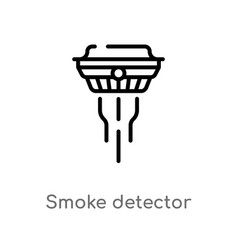 Outline smoke detector icon isolated black simple vector