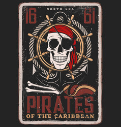 pirate vintage poster skull and ship achor vector image