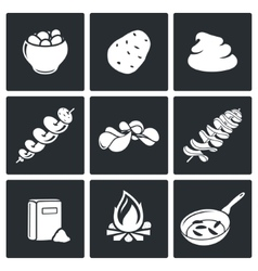 Potato products Icons Set vector image