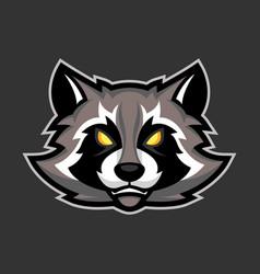 Raccoon mascot sport or esports racoon logo emblem vector