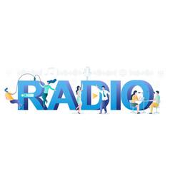 Radio online typography banner template vector