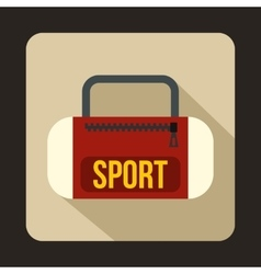Red sports bag icon flat style vector image