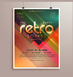 Retro music party event flyer invitation template vector