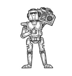 Robot with boombox music player sketch engraving vector