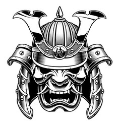 Samurai warrior mask bw version vector