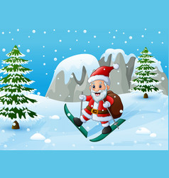 santa claus skiing in the snow hill with sack of g vector image