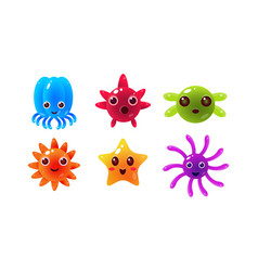 Sea creatures set cute marine colorful bright vector