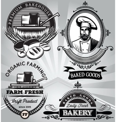 set of emblems on the subject baking with the vector image