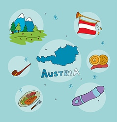 set of national profile of the austria vector image