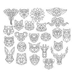 set polygonal animal portraits collection vector image