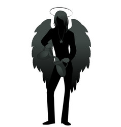 Silhouette angel with appearance and clothes vector