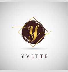 Simple elegance initial letter y gold logo type vector