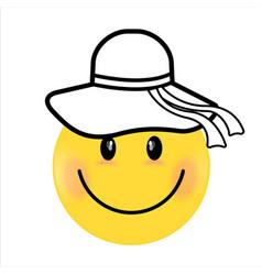 smiling face yellow girl happy smiley emoji vector image