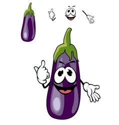 Smiling purple eggplant vegetable vector image