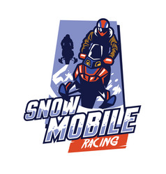 snowmobile racing badge design vector image