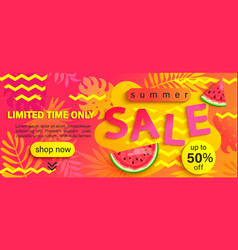 summer sale banner hot season discount poster vector image