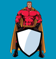 Superhero holding shield no mask vector