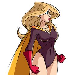 Superheroine side profile vector