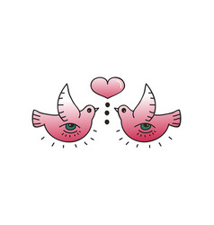 Tattoo birds and heart on white background vector