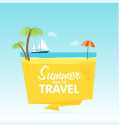 Time to travel summer vacation flat background vector